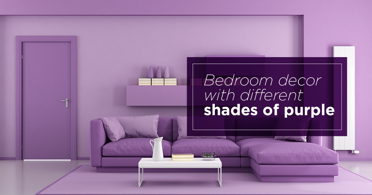 Bedroom decor with different shades of purple