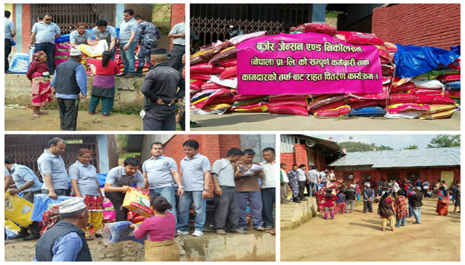 Providing Relief Materials: Earthquake victims of Suryabinayak Municipality